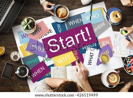 Start Beginning Start up Launch Forward Motivation Concept - stock photo