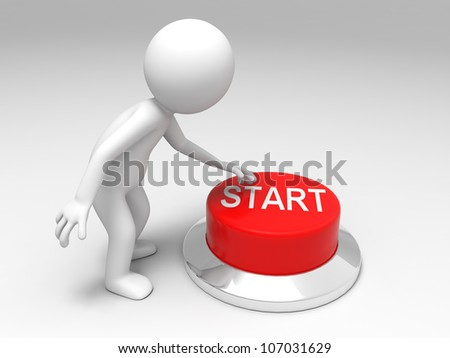 Start button /A man is pushing the button - stock photo