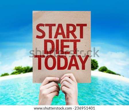 Start Diet Today card with a beach on background - stock photo