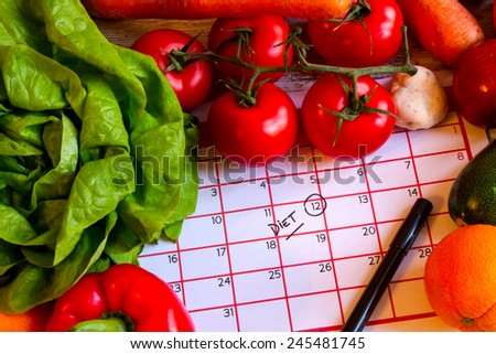 Start diet today eating healthy food  - stock photo