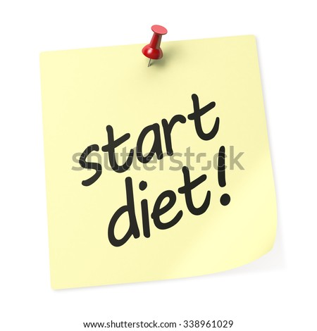 Start Diet yellow sticky note with red push pin. 3D rendering.