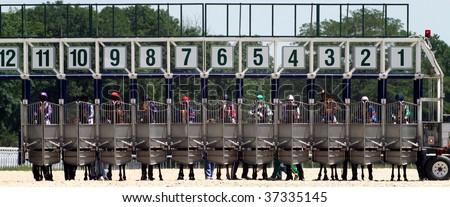 Start gates for horse races. - stock photo