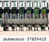 Start gates for horse races.Caucasus,Russia. - stock photo
