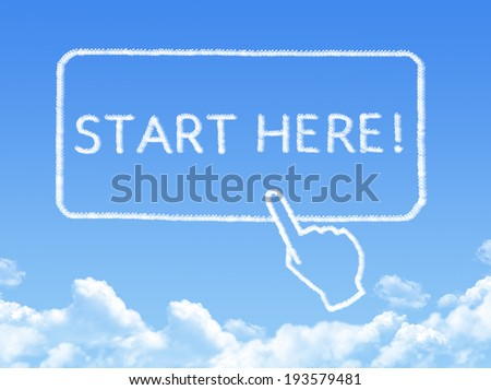 Start here message cloud shape - stock photo