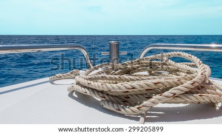 Start Journey to The Sea Concept, View of Speed Boat Moving with Seascape and Clear Sky in Background - stock photo