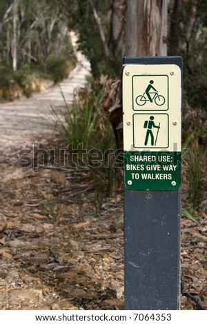 Start of a bush track designated for both walkers and bike riders