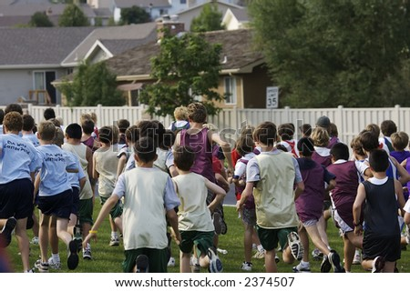 Start of a cross country meet for middle schoolers - stock photo