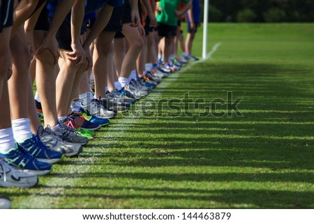 Start of Children's Running Race - stock photo