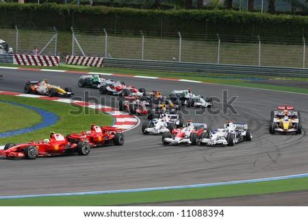 Start of F1 race Kuala Lumpur 2008 - stock photo