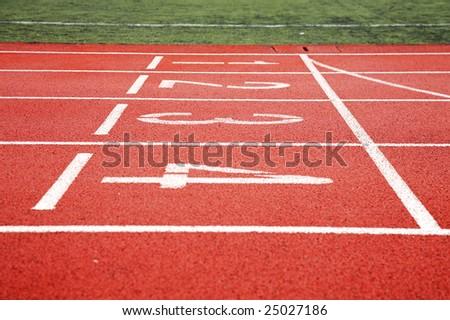 start of running track - stock photo