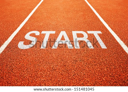 Start on athletics all weather running track