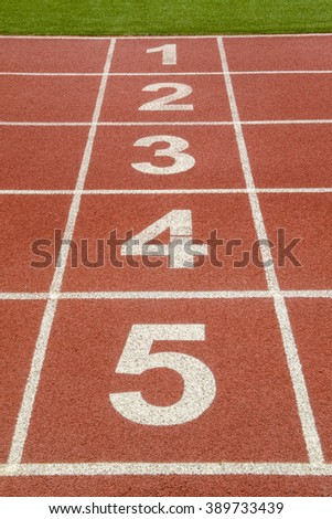 Start or finish position on running track  - stock photo