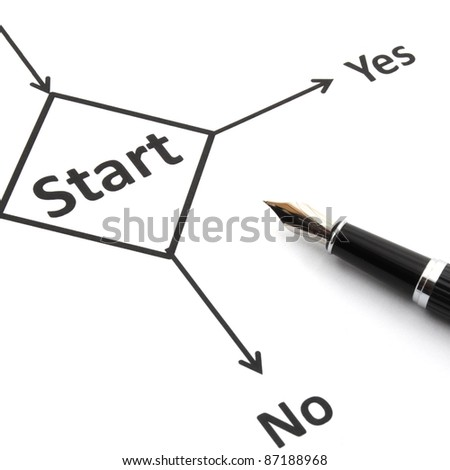 start or go concept with word in flow chart and pen