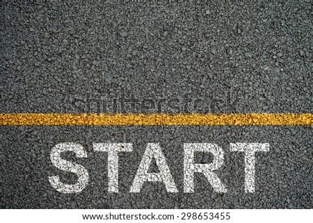 Start  point on the Asphalt roads - stock photo