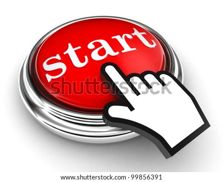 start red button and cursor hand on white background. clipping paths included - stock photo