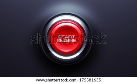 Start Start Engine Button isolated on dark background - stock photo