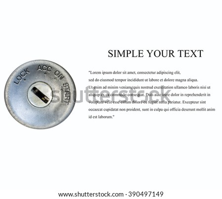 start the car,Car ignition on white background - stock photo