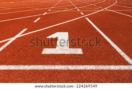 Start track. Lanes 1, number one of a red racing track. - stock photo