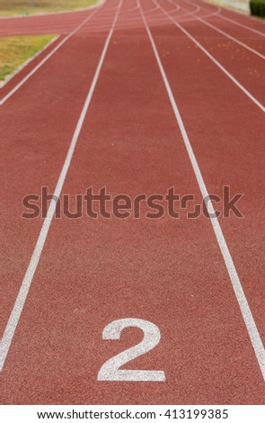 Start track. Lanes 2, number one of a red racing track. - stock photo