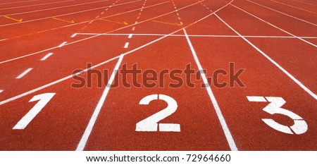 Start track. Lanes 1 2 3 of a red racing track - stock photo