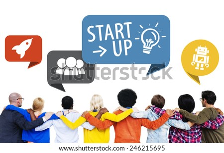 Start up Business Friendship Aspiration Challenge Community Concept - stock photo