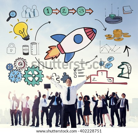 Start Up Business Launch Rocket Graphic Concept - stock photo
