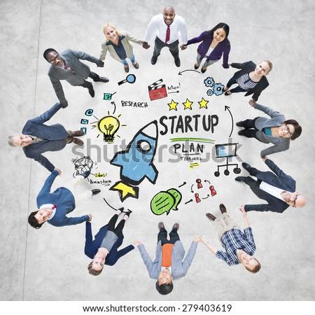 Start Up Business Launch Success Business Team Concept - stock photo