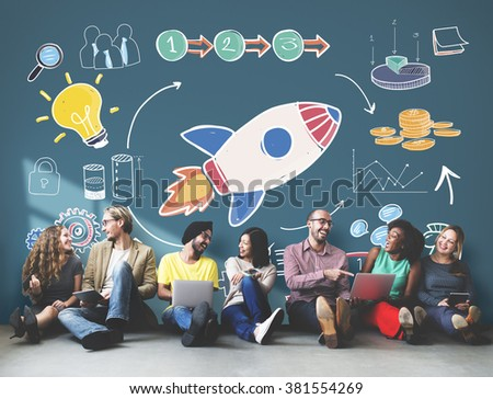 Start Up Business Strategy Growth Planning Concept - stock photo