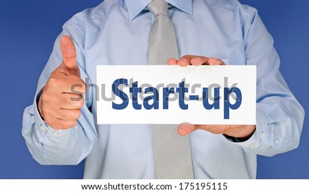Start-up - Businessman with thumbs up - stock photo