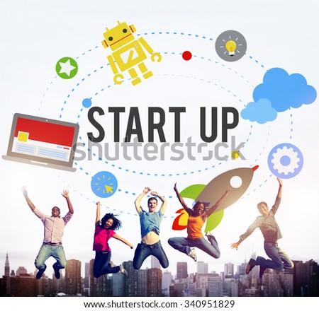 Start Up Goals Growth Success Plan Business Concept - stock photo