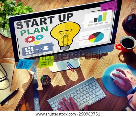 Start Up Launch Business Ideas Plan Creativity Concept - stock photo
