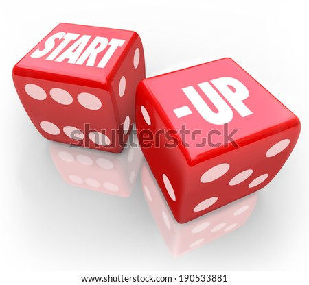 Start-Up Words Red Dice New Business Venture Risk