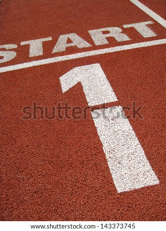 Start - view from sports track - stock photo