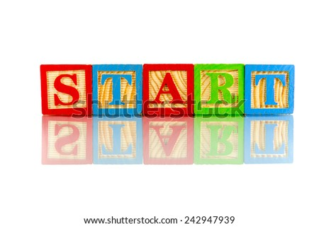 Start word reflection on white background - stock photo