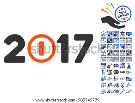 Start 2017 Year Caption pictograph with bonus 2017 new year design elements. Glyph illustration style is flat iconic symbols,modern colors.