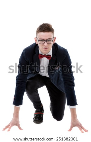 start your business - business man ready to start running over white - stock photo
