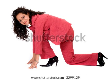 Start your business career - woman on the floor in racing position isolated over a white background - stock photo