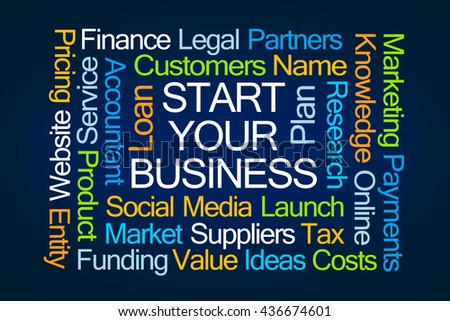 Start Your Business Word Cloud on Blue Background - stock photo
