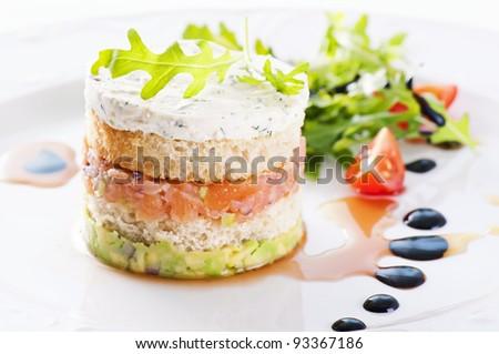 Starter with salmon tartare and salad - stock photo
