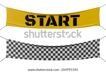 Starting and finishing checkered line banners. - stock photo