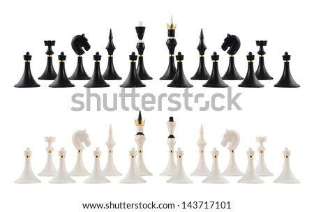 Starting chess figure setup of the black and white figures isolated over white background - stock photo