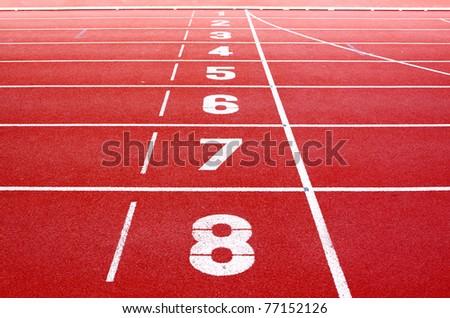 Starting lane of running track - stock photo