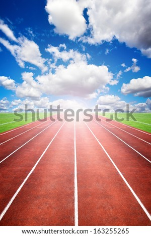 Starting Line of Track Running Lanes in Sports Arena. Way to success. - stock photo