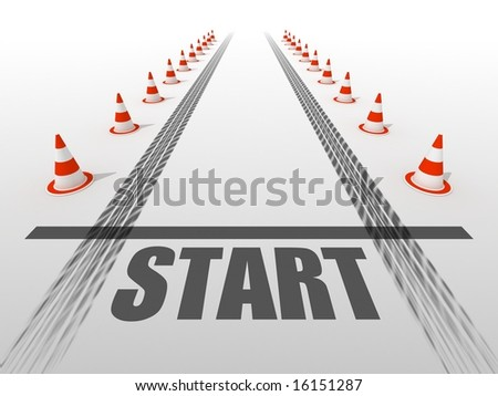 Starting line with road cones - stock photo