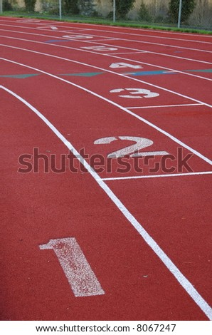 Starting positions on a track - stock photo