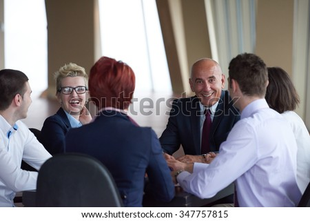 startup business people group have meeting in modern bright office interior, senoir investors  and young software  developers - stock photo
