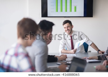 startup business, young creative  people group brainstorming on meeting at office interior - stock photo