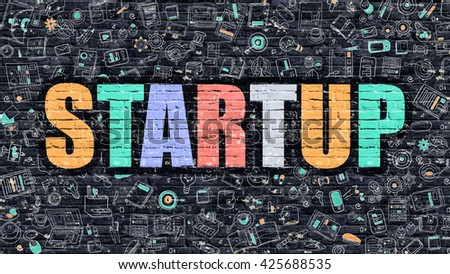 Startup Concept. Modern Line Style Illustration. Multicolor Startup Drawn on Dark Brick Wall. Doodle Icons. Doodle Design Style of  Startup Concept. Startup on Dark Brick Wall. Startup.