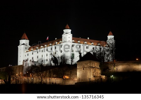 Stary hrad castle in Bratislava at night with illumination - stock photo
