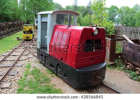 STARY PLZENEC, CZECH REPUBLIC - MAY 14, 2016: Mining locomotive BN30R on narrow-gauge railway. Outdoor museum in Stary Plzenec, Czech republic, Europe. - stock photo